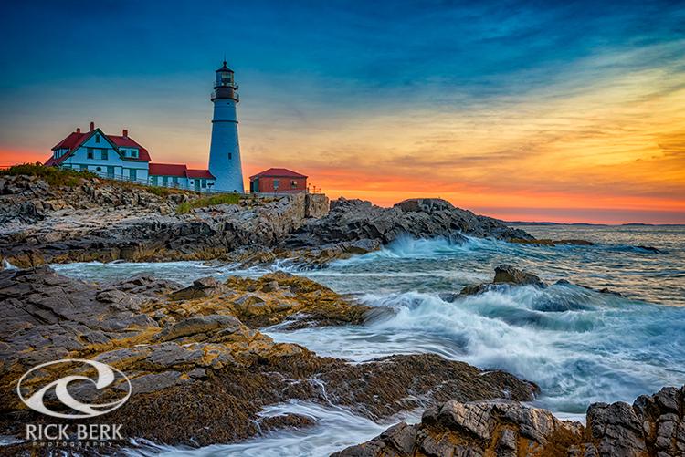 Sunrise at Portland Head Lighthouse, Cape Elizabeth, Maine.