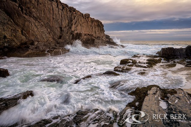 The tide rushes in at Bald Head Cliff in Cape Neddick, Maine.