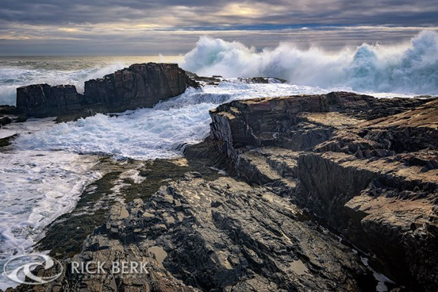 Waves pound the rocks at Bald Head Cliff in Cape Neddick, Maine.