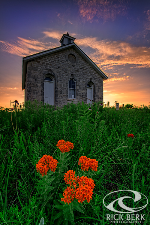 Sunset at Lower Fox Creek Schoolhouse