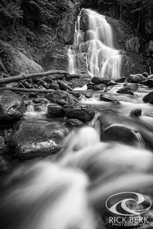 Moss Glen Falls And Deer Hollow Brook In Black And White